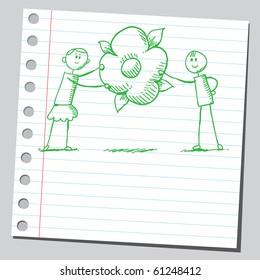 Hand drawn kids holding a flower
