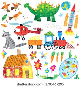 hand drawn kids icon doodle set dinosaur helicopter cat train flowers fish rocket bird home