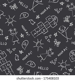 Hand Drawn kids Vector illustration, Vintage Blackboard Texture Background with chalk drawings.