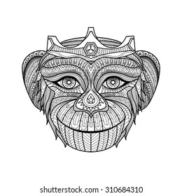Hand drawn king of monkeys coloring page.