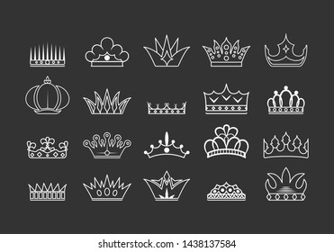 Hand drawn kings and queens crowns collection. Vintage royal heraldic outlines.