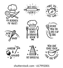 Hand drawn kitchen posters set. Quotes and funny sayings about cooking food. Wall decor art prints collection. Kitchenware monochrome set. Vector vintage illustration.