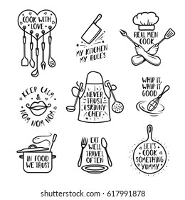 Hand drawn kitchen quotes set. Phrases and funny sayings about cooking food. Wall decor art prints collection. Kitchenware monochrome set. Vector vintage illustration.