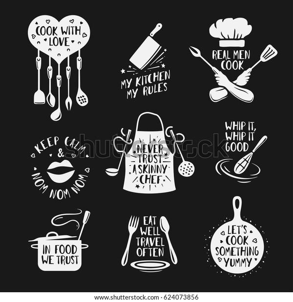 Hand Drawn Kitchen Quotes Set Phrases Stock Vektorgrafik Lizenzfrei