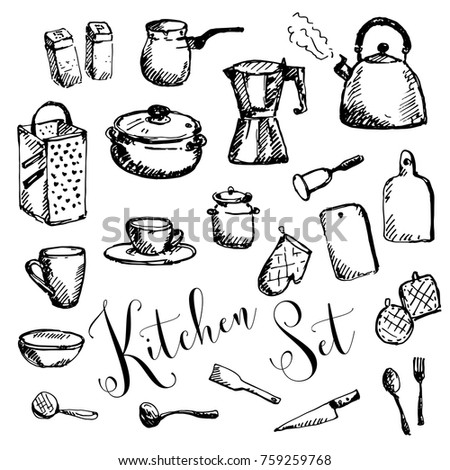Hand Drawn Kitchen Set Kitchenware Cookware Stock Vector Royalty
