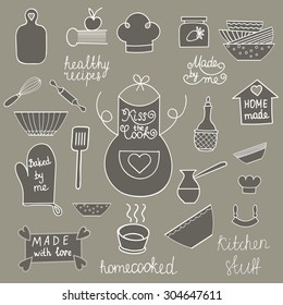 Hand drawn kitchen tools set Kitchen utensils isolated Kitchen equipment collection Kitchen doodles Kitchen silhouette Kitchen background Home made food symbols of Apron, spatula, cook hat, soup bowl