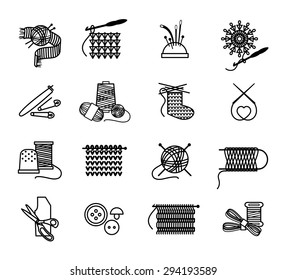 Hand drawn knitting, embroidering and sewing icons set. Thread and sew, needle and craft, vector illustration