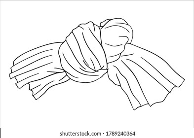 Hand Drawn Knotted Fabric Tied Knot Vector on a White Background