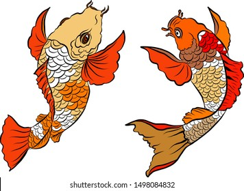 Hand drawn Koi carp on red background for auspiciousness of Chinese new year.Gold fish for festival on backdrops.Beautiful line art of koi fish.