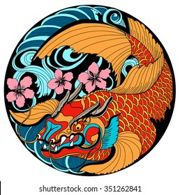 hand drawn koi fish in circle, Japanese carp line drawing coloring book vector image