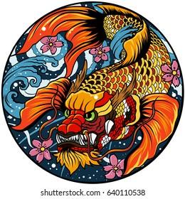 hand drawn koi fish in circle, Japanese carp line drawing coloring book vector image