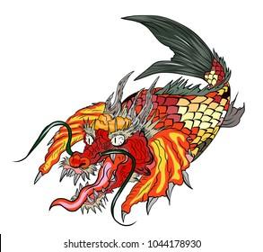 hand drawn koi fish Dragon head.Japanese Dragon carp line drawing coloring book vector image. Shachihoko or Shachi vector.