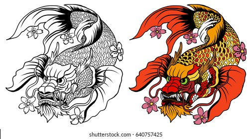 hand drawn koi fish in Dragon head, Japanese carp line drawing coloring book vector image