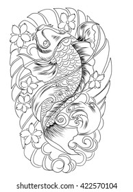 hand drawn koi fish tattoo