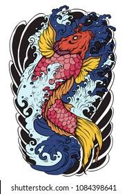 hand drawn koi fish tattoo.Japanese Koi carp with lotus flower and water splash tattoo.