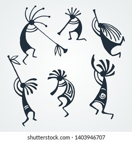 Hand drawn Kokopelli figures. Stylized mythical characters playing flutes. Vector art for prints. design, cards, children and coloring books, t-shirts