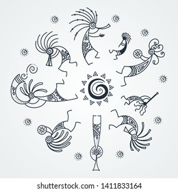 Hand drawn Kokopelli music circle. Stylized mythical characters playing flutes. Vector art for prints. design, cards, children and coloring books, t-shirts