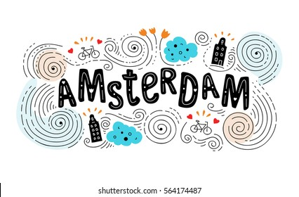 Hand drawn label with Amsterdam city in Van Gogh style. This illustration can be used as a print on T-shirts, bags, wall, poster.