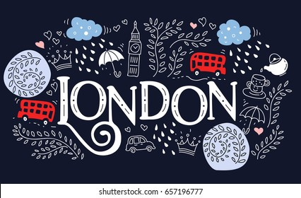 Hand drawn label with London city in  cartoon style. This illustration can be used as a print on T-shirts, bags, wall, poster.