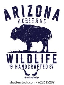 Hand drawn label with textured buffalo vector illustration
