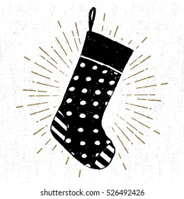 Hand drawn label with textured Christmas stocking vector illustration.