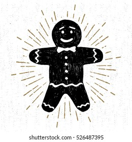 Hand drawn label with textured gingerbread man vector illustration.