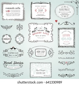 Hand drawn labels, frames, flowers and floral dividers. Good for package design, promo signs and logo design.Vector illustration.
