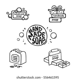 Hand drawn labels for handmade soap bars. Set of vector logos, badges and templates for all kind soap design, packaging or wrapping