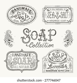 Hand drawn labels and patterns for handmade soap bars. Vector illustration
