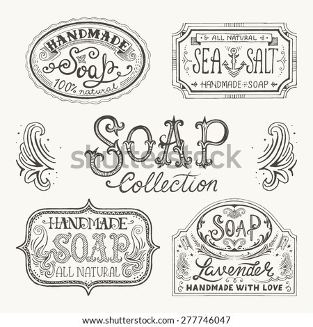 Hand Drawn Labels Patterns Handmade Soap Stock Vector Royalty Free