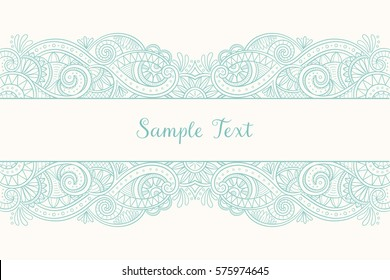 Hand drawn lace pattern design border. Cute doodle design, perfect for wedding invitations, greeting cards and beautiful backgrounds. Vector illustration.