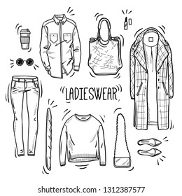 Hand drawn lady fashion set: shirt, overcoat, jumper, bags, shoes, jeans, and accessories. Vector isolated outline on white background. Sketch style