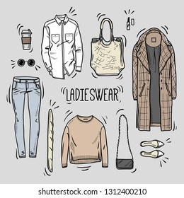 Hand drawn lady fashion set: shirt, overcoat, jumper, bags, shoes, jeans, and accessories. Vector colored illustration. Sketch style