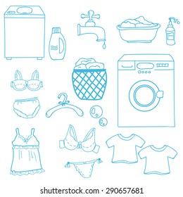 Hand drawn landry day set with shoulder, tap, water, soap bubbles, t-shirt, washing machine, lingerie.