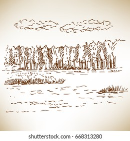 Hand drawn landscape with forest and lake. Sketch, vector illustration.