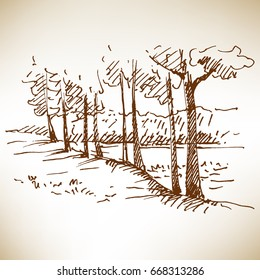 Hand drawn landscape with forest. Sketch, vector illustration.