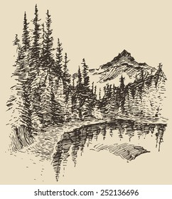 Hand drawn landscape with lake and fir forest, vintage vector illustration