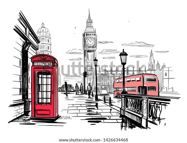 hand drawn landscape of London city