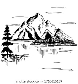 Hand drawn  landscape with mountains. Vector sketch  illustration.
