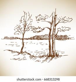 Hand drawn landscape. Sketch, vector illustration.