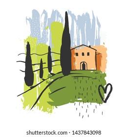 Hand drawn landscape of Tuscany. Vector sketch  illustration.
