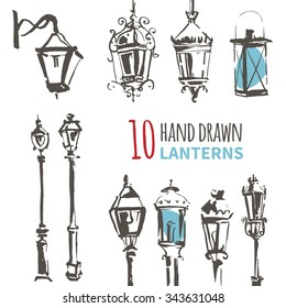 Hand Drawn Lantern Set. Ink vector illustration of European Lanterns. Freehand drawing with liner pen on paper. Vintage design. Postcard template. Urban, city, town, street element.