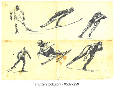 Hand drawn a large collection of winter sports - skiing and speed skating. Detailed and precise work.