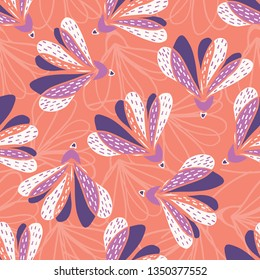 Hand drawn large scale floral vector seamless pattern. Coral background. Bold oversized white purple stylized leaf blooms. Painted pretty garden flower. Retro vintage fashion foliage all over print.