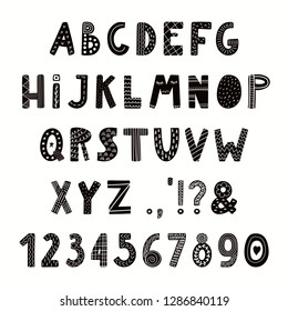 Hand drawn Latin alphabet in Scandinavian style with numbers, punctuation marks. Make your own lettering. Isolated on white background. Vector illustration. Design concept for typographic poster.