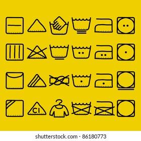 hand drawn Laundry Care ,washing symbols