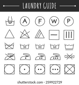 Hand drawn laundry guide icons, care symbols