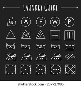 Hand drawn laundry guide icons and symbols