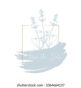 Hand drawn lavender flowers with elegant gold frame. Pastel soft blue brush background. Vector decoration element