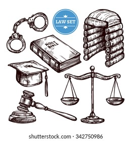 Hand drawn law symbols set with Holy Bible scales handcuffs and elements of judges clothing  isolated vector illustration